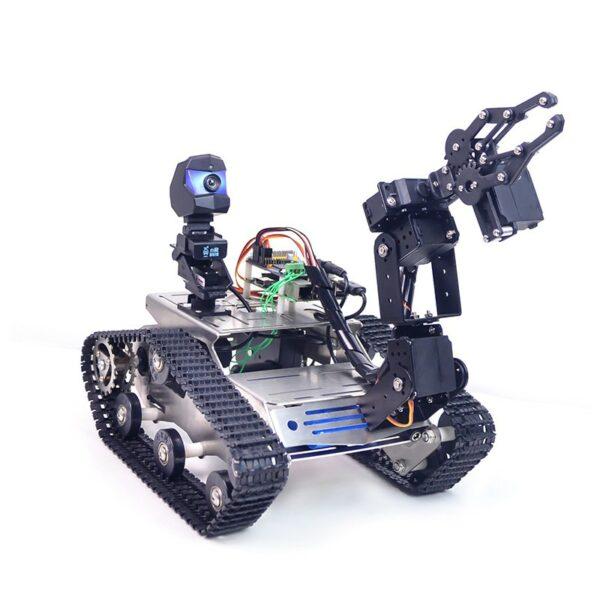 Raspberry Pi 4B TH WiFi FPV Tank Robot Car Kit with Robot Arm