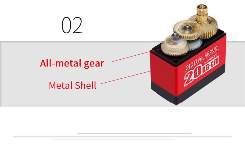 Full Metal Gear Digital Servo motor with 20kg High Torque