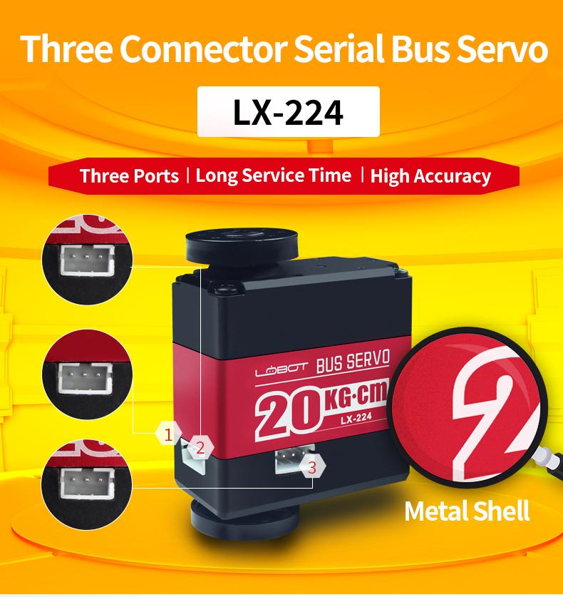 LX-224 Serial Bus Servo Motor with Three Connectors 20KG Large Torque