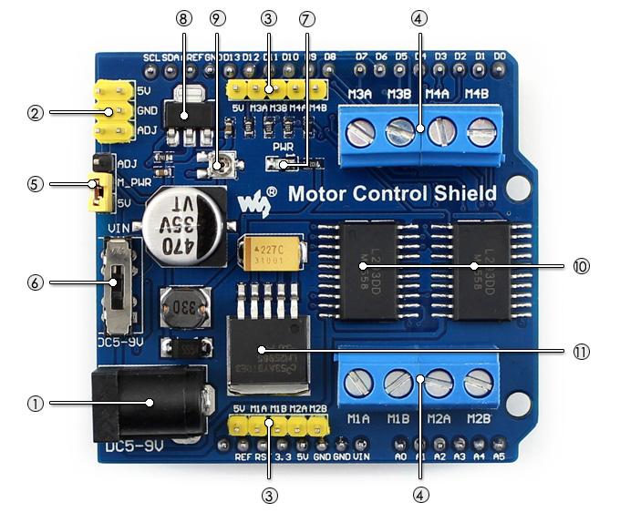 Motor Control Shield for Arduino Raspberry Pi Smart Robot Car