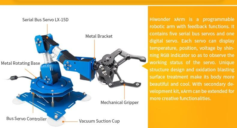 xArm 6DOF Robot Arm with Bus Servo on ScratchArduino Programmable Robotic Arm