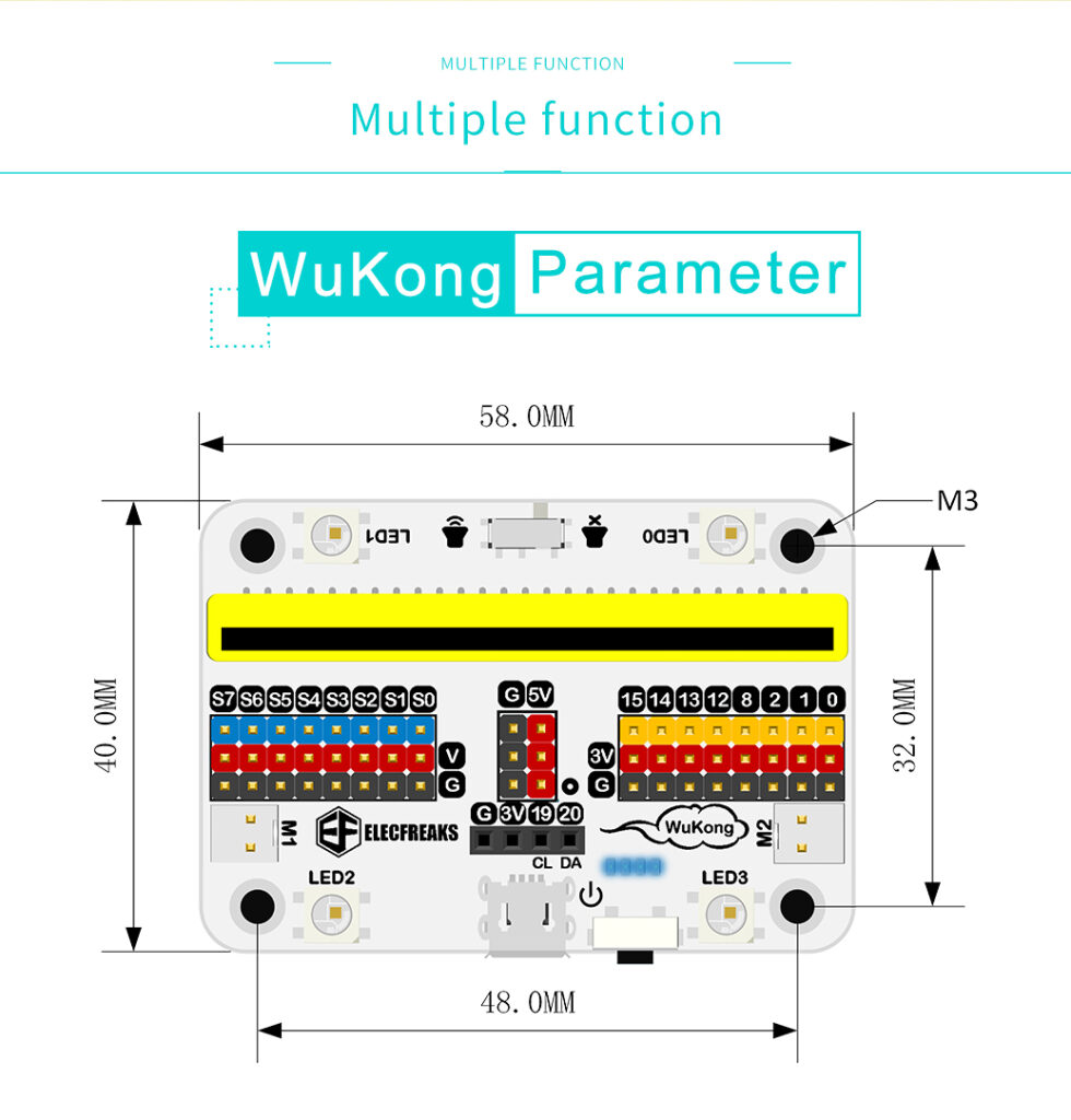 Mecanum Wheels Robot Control Wukong board with Lego holder for micro:bit